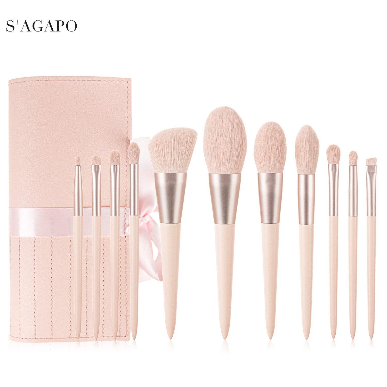 S'AGAPO 11pcs Professional Eyeshadow Makeup brushes set for Foundation Eyebrow Loose powder Blush Lips Face Beauty Makeup tools