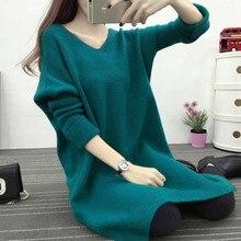 Новая мода женский осенне-зимний длинный свитер надеваемое через голову платье повседневные теплые женские трикотажные свитера пуловеры Леди
