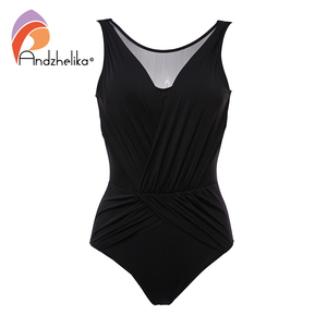 Image 3 - Andzhelika סקסי רשת בגד ים טלאי חתיכה אחת בגד ים נשים חדש 2020 בגדי ים בציר בגדי ים חוף ללבוש Monokini