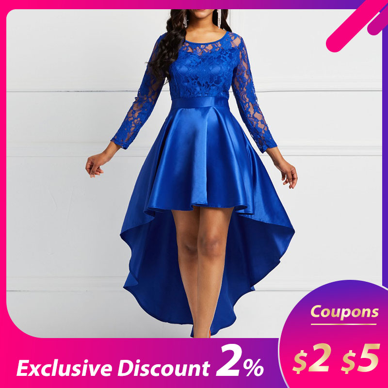 <font><b>Evening</b></font> Party Date Asymmetric Satin Hollow Out Floral Lace <font><b>Long</b></font> <font><b>Dress</b></font> Women Spring Summer Royal Blue Burgundy Red Maxi <font><b>Dresses</b></font> image