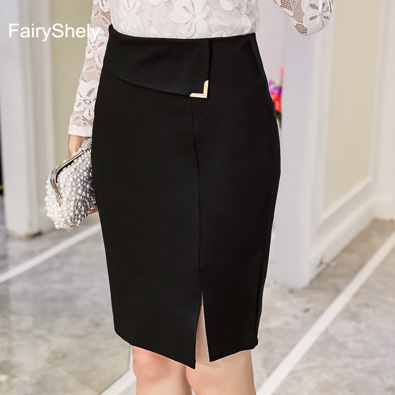 2019 New Women Formal Work Wear Skirts Ladies Sexy High Waist Knee Pencil Skirt Red Black Stretch Package Hip Plus Size 5XL