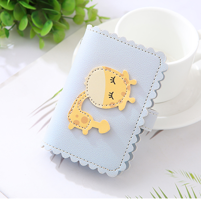 NI WEI ER Cute Giraffe Design 24 Card Slots Women Child Girl Cards Holder Wallet Passport Cover Card Bag Case Carteira Mujer