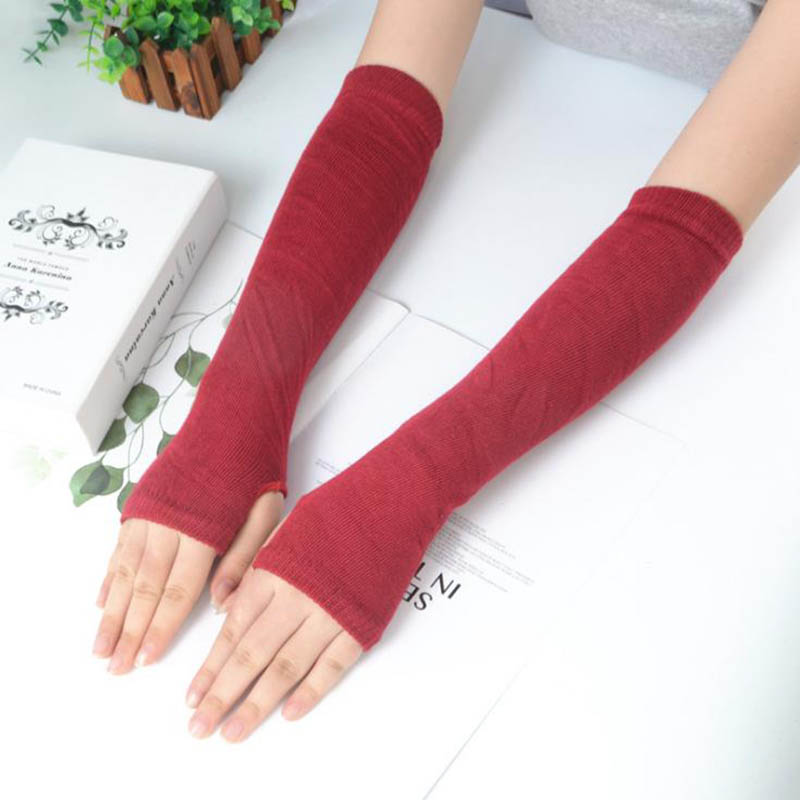 Calymel New Fashion Simple Autumn And Winter Long Men And Women Long Gloves Half Finger Sleeves Women's Sleeves