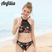 Mesh Swimwear Bikini-Set Floral Print Hollow-Out Sexy Beachwear Vintage Women Anfilia