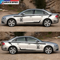 Both Side Racing Sport Styling Waist Lines Vinyl Decal Sedan Car Body Door Whole Stickers For Toyota Honda KIA Audi A4 A5 A6 A7
