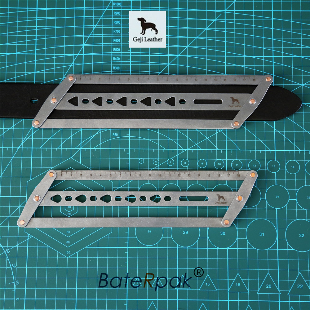 Geji Manual Leather Auxiliary Ruler,belt Positioning Auxiliary Ruler,  15/18mm Version For Choose