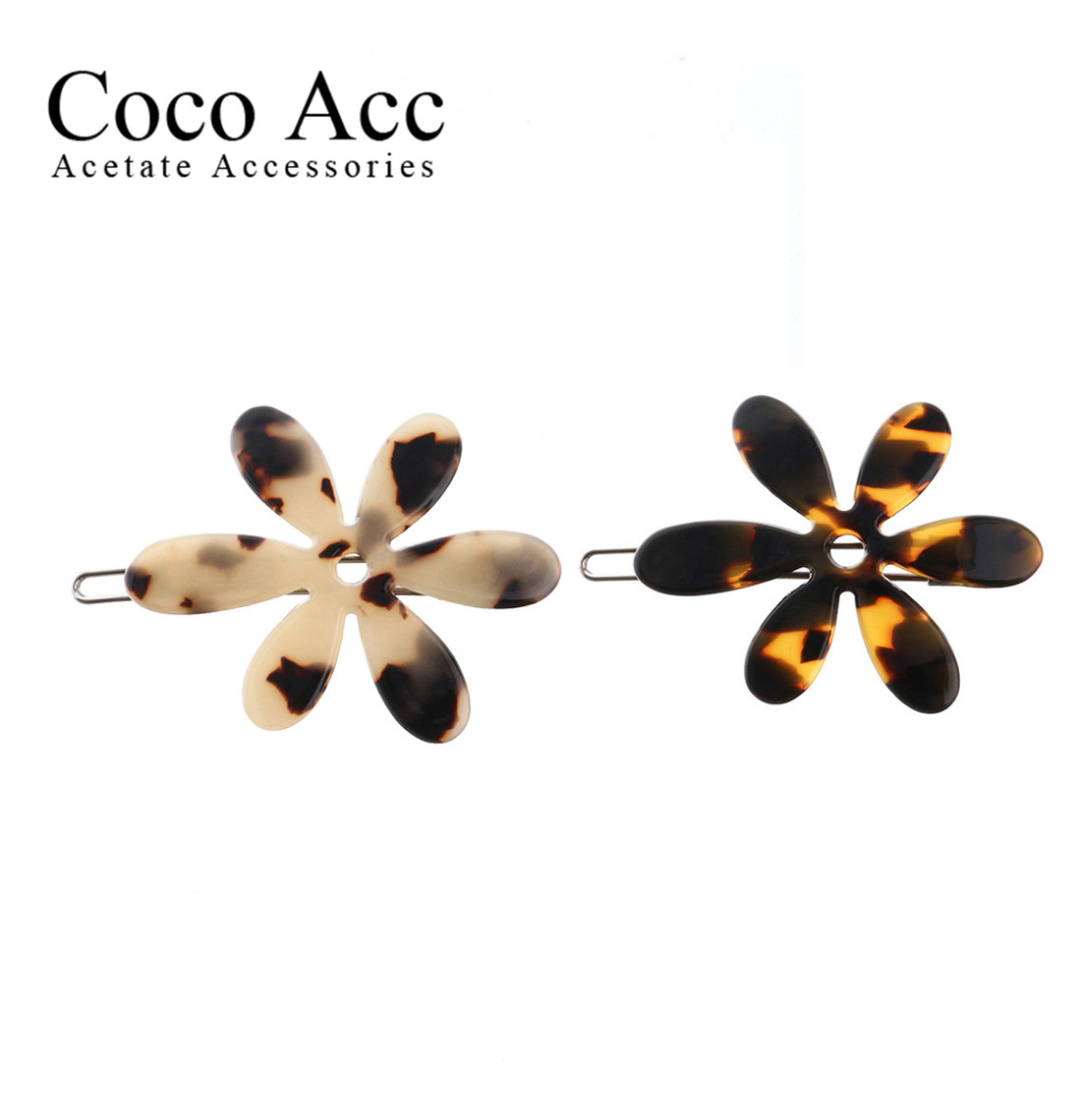 Wholesale High Quality Flower Shaped Side Hairpin Acetate Side Korea Hair Grips Alligator  Clips For Women Girls