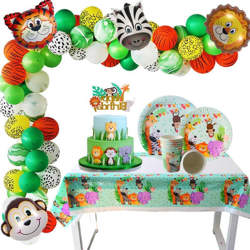 Decoracion De Baby Shower De Animales.Feliz Cumpleanos Selva Fiesta Decoraciones Animal Cumpleanos Safari Fiesta Suministros Ninos Baby Shower Vajilla Desechable Decoracion De Mesa