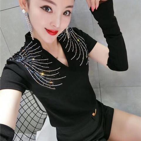 2018 Autumn Long Sleeve V Neck Bead Work Black T-shirts Women Strechy Bodycone Rhinestones T-shirts Lady Dance Shirts Party Tops Multan