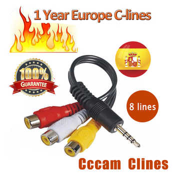 spain 7 lines Server support DVB S2 IKS Receptor Satelite Receiver for Europe Cccam Clines with Portugal Italy