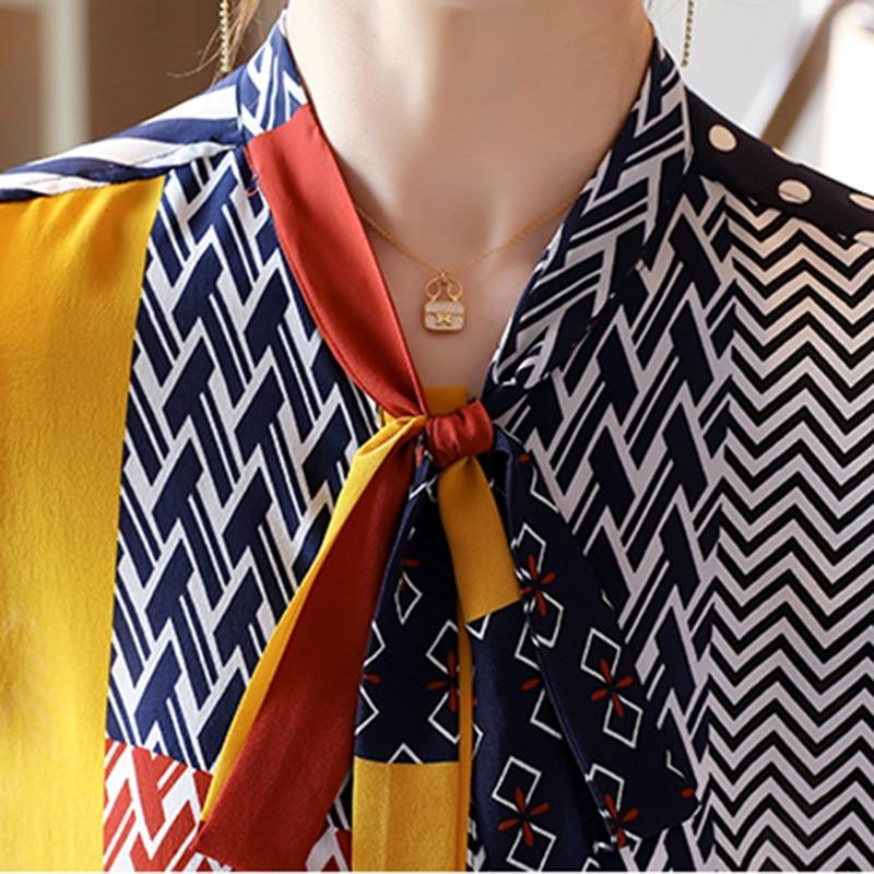 Fashion Print Blouses Women Bow Silk Shirts 2021 Autumn Long Sleeve Shirt Women Harajuku Shirts Blusas Mujer De Moda 10739 4