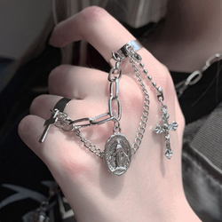 IPARAM Punk Cross Virgin Mary Chain Open Ring Female Rock Hip Hop Silver Color Cross Adjustable Ring 2021 Fashion Jewelry Ring