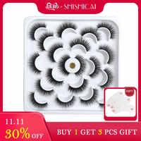 SHISHICAI 1/2/10 paires de faux cils vison naturel longs cils de vison 3D Extension de cils de vison pour le maquillage de beauté faux cils
