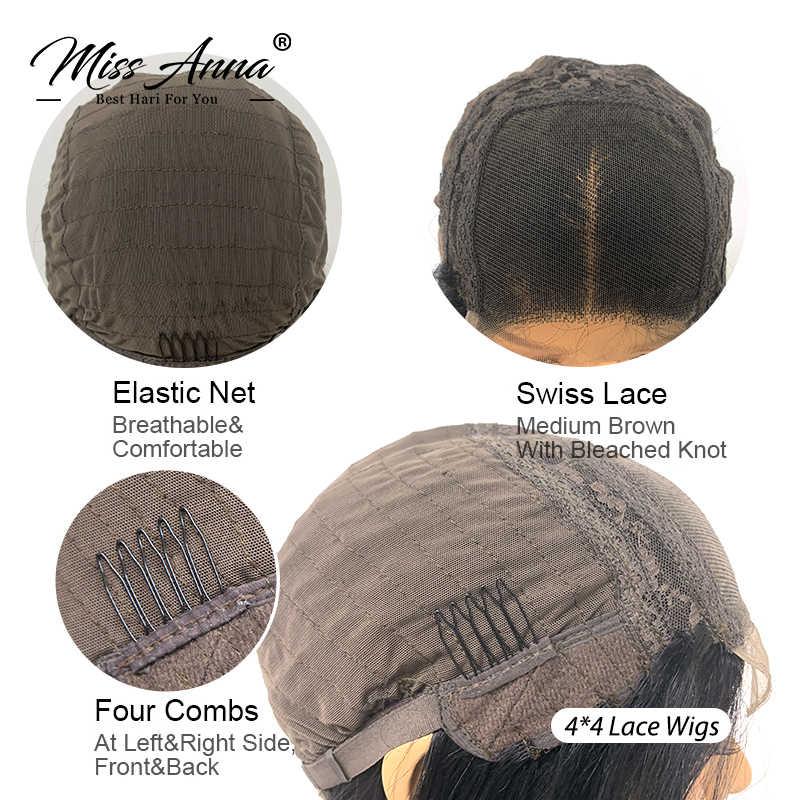 Missanna brazylijski prosto peruka z krótkim bobem koronki przodu peruki z ludzkich włosów 13x4 Bob koronki przodu peruki 150% zamknięcie peruka pre-oskubane włosy