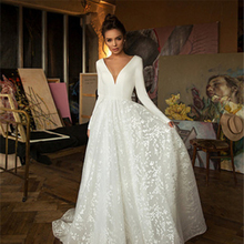 The Bridal Wedding Dress Can Be Customized Deep V Backless Retro Long-Sleeved Lace Satin Wedding Dress Trailing