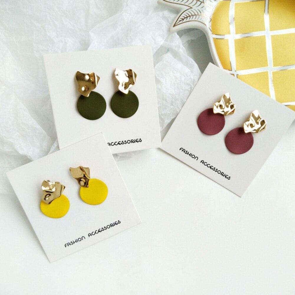 Temperament Yellow Red Round Earrings Simple Modern Women's Earrings Women Drop Earrings Korean Style Jewelry Pendientes