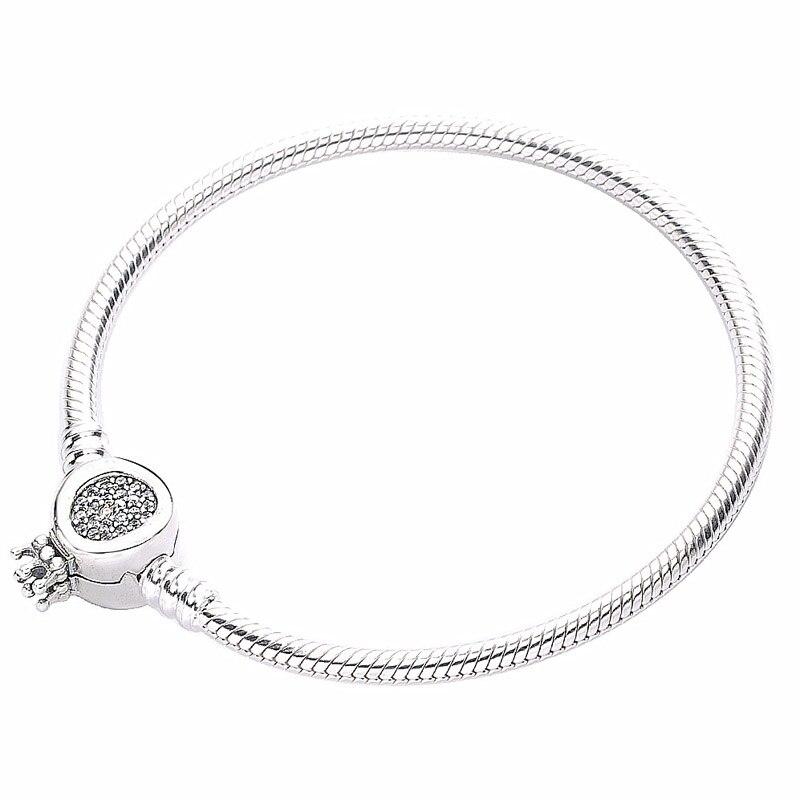 Новый 925 пробы серебряный браслет с кристаллами Moments, корона с О образным ремешком, цепочка змейка, браслет, подходит для бусин, шарм, сделай с