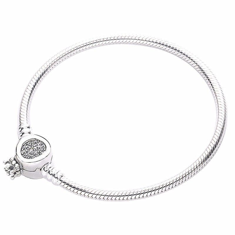New 925 Sterling Silver Bracelet Crystal Moments Crown O Clasp Snake Chain Bracelet Bangle Fit Bead Charm Diy Europe Jewelry