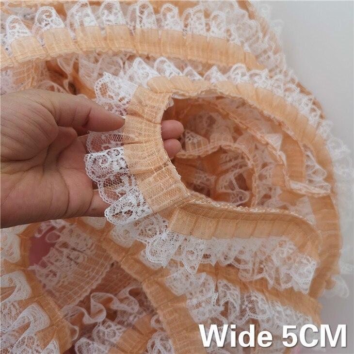 5 CM Breite Luxus 3D Spitze Stoff Falten Gefaltet Nähen Stoff Bestickte Band Kragen Kleid Hause DIY Rüschen Trim Decor applique