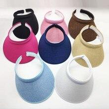 Летняя женская повседневная шляпа от солнца с козырьком, Пляжная Пустая Шляпа, Женская Регулируемая соломенная Кепка