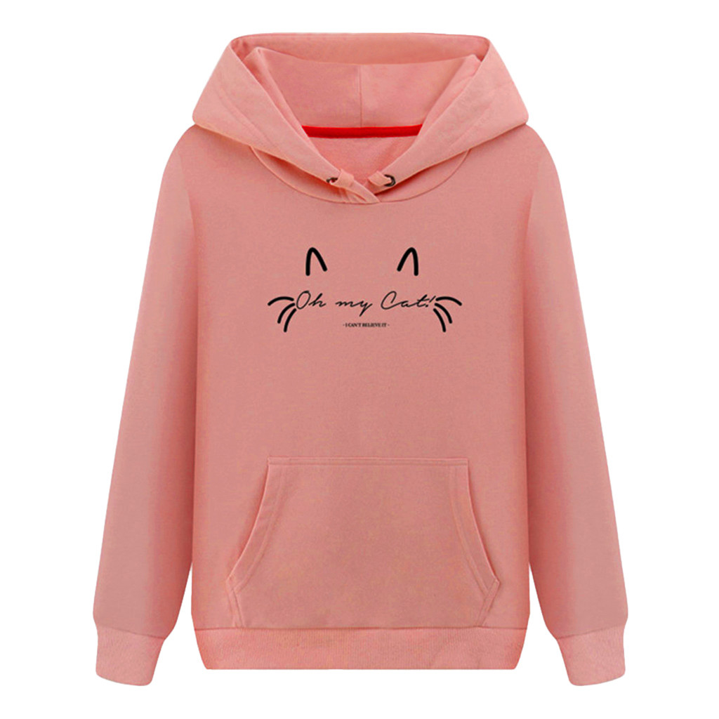 Autumn Winter Hooded Sweatshirt Pullover Women's Hoodies Casual Print Hoody Pocket Outwear Coats Female Pullover Sweatshirt#3