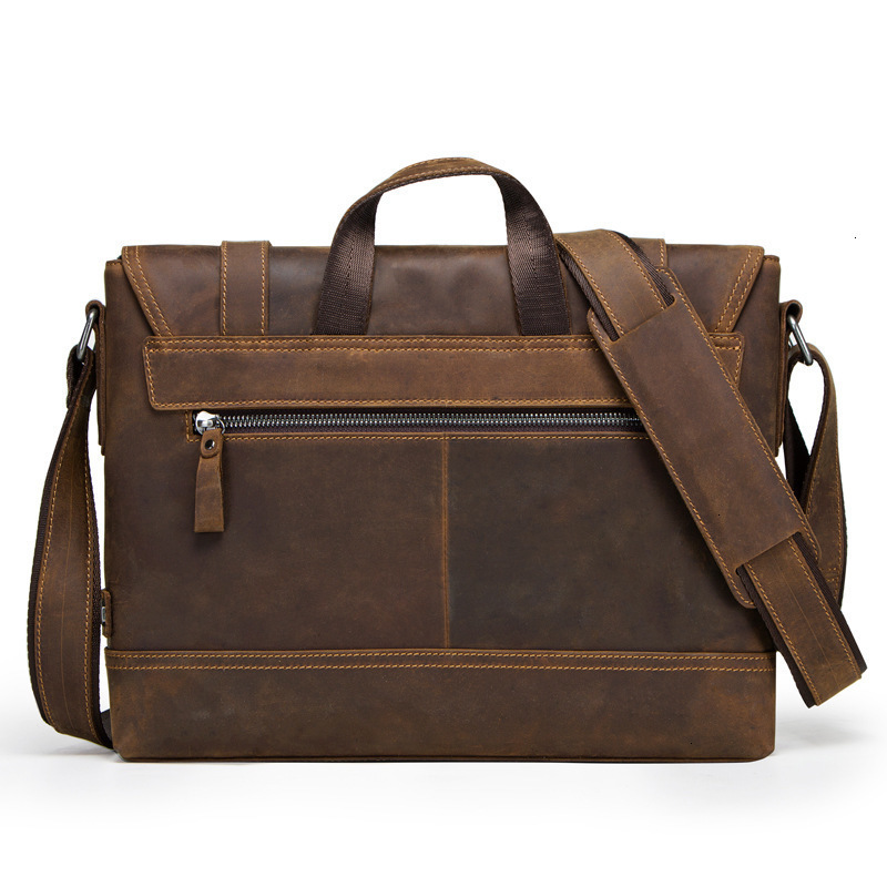 Genuine Mens Leather Laptop Messenger Bags Man Portable Business Affairs Briefcase Crazy Horse Oblique Satchel Duffel Designer