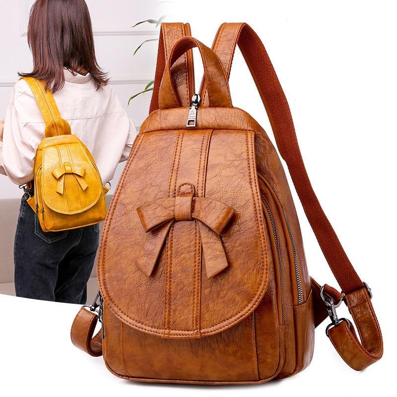 Women Backpack Oil Wax Leather Multi-function Bow Female Chest Shoulder Bag Lady Travel Bagpack Mochila For Teenage Girl Backbag