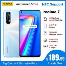 Realme 7 rmx2155 nfc 6.5 fffhd + 6/8gb 64/128gb 48mp quad cams smartphone helio g95 octa core 30w dartcharge 5000mah telefone móvel