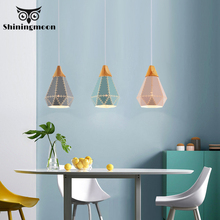 Modern Iron LED Pendant Lights Creative Wooden Pendant Lamp Restaurant Kitchen Luminaire Hanging Lamp Rope Stairs Hanging Lights