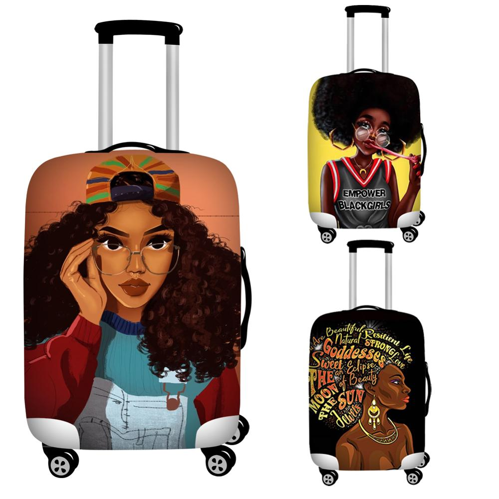 Nopersonality Black African Girl Travel Luggage Covers Elastic 18-32inch Protective Suitcase Cover Waterproof Trolley Case Cover