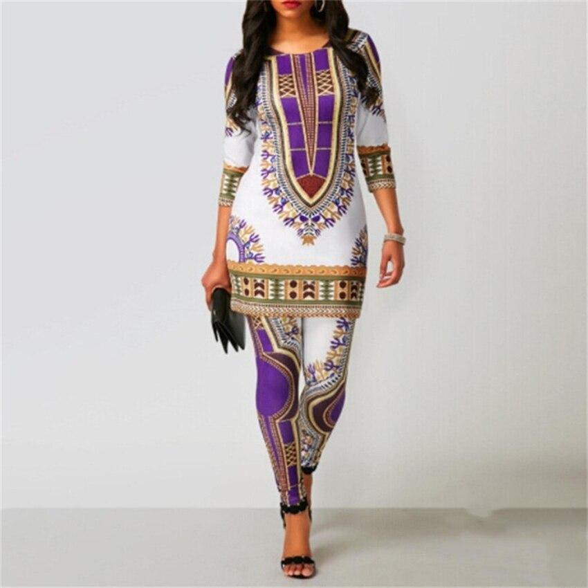 Afrikanische Kleider für Frauen 2019 News Top Hosen Anzug Dashiki Drucken Damen Kleidung Robe Africaine Bazin Mode Kleidung