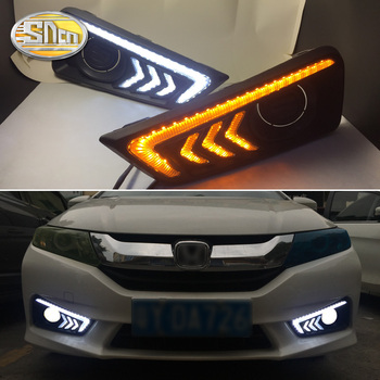 SNCN LED Daytime Running Light For Honda City Grace 2015 2016 Yellow Turn Signal Relay Waterproof 12V DRL Fog Lamp Decoration