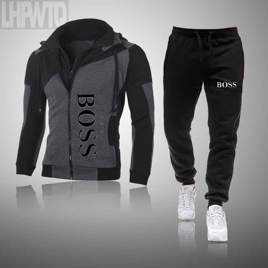 Men Yes Boss Print Suit Two Pieces Set Men's Hoodies Sweatshirt+Pants Male Hoody Jogging Tracksuit Men Sportswear Brand Outfit