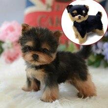 Plush Toy Yorkie Realistic Dog Lifelike Puppy Replica Companion Pet Simulation Furry Animal Models Kids Birthday Gift Ornaments