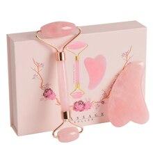 Conjunto de rolos de massagem facial rosa, kit de massagem facial com caixa de presente para guasha, massagem curta e antirrugas