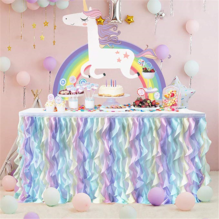 Table Skirt Tulle Table Skirt For Wedding Decoration Baby Shower Birthday Banquet Party Wedding Table Skirting 180x77cm