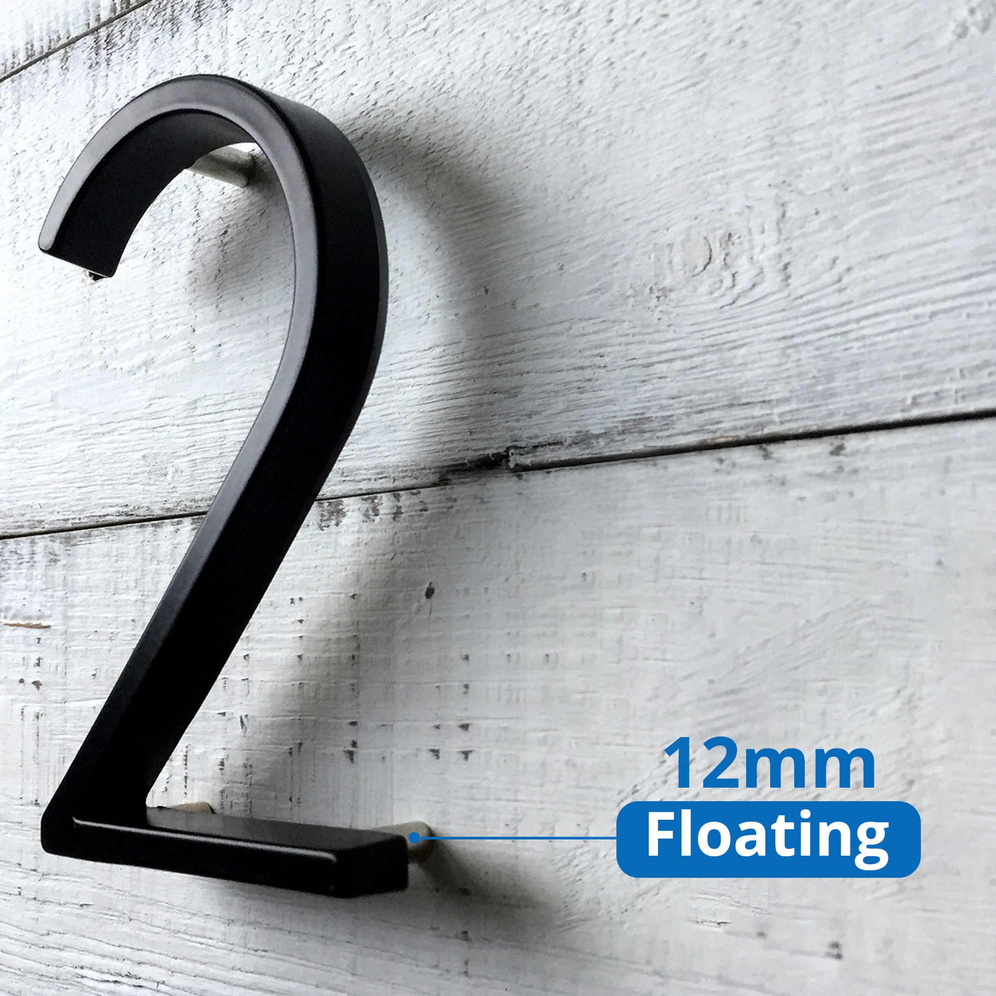 125mm Rumah Apung Nomor Huruf Modern Besar Pintu Alphabet Home Outdoor 5 di. Nomor hitam Alamat Plakat Dash Slash Tanda #0-9