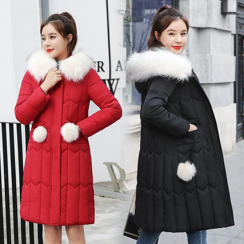 Women Winter Jacket 2019 Solid Down Cotton Hooded Casual Outerwear Coats Manteau Femme Hiver Fur Collar Parkas