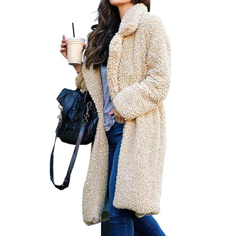 WOMEN'S  Autumn And Winter Teddy Coat Fold-down Collar Furry Solid Cardigan Mid-length Warm Fur Long Warm Outwear