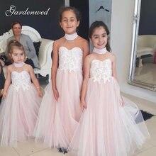 Пышное Тюлевое кружевное платье с цветочным рисунком для девочек
