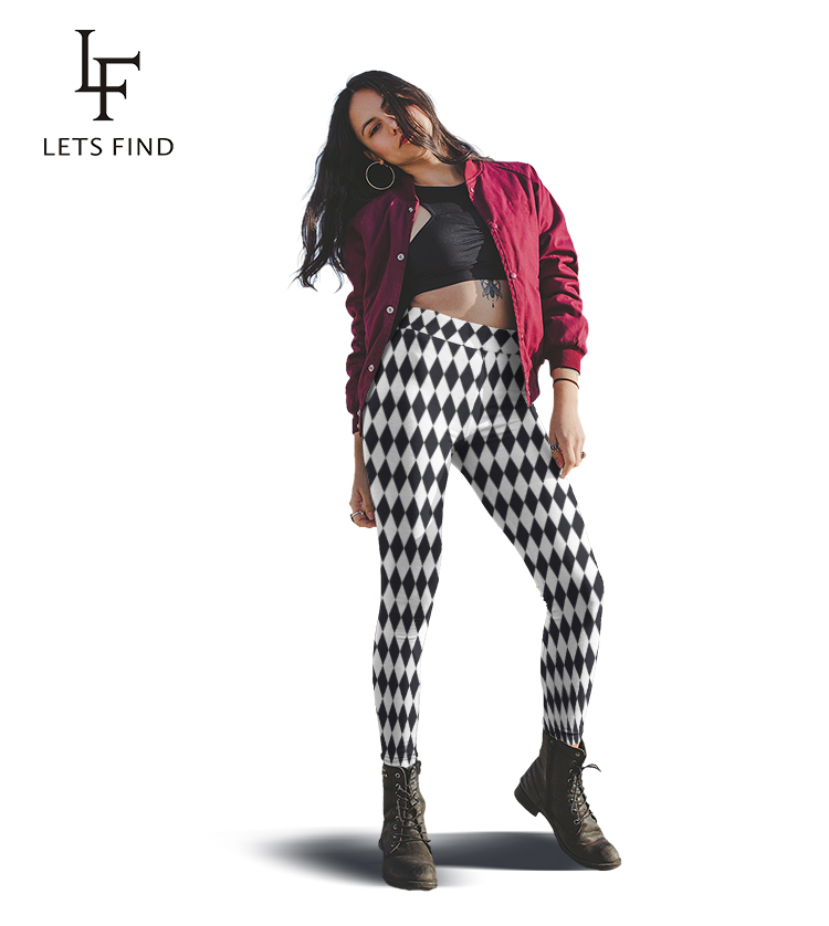 LETSFIND Fashion Black And White Diamond Geometric Digital Printing Fitness Leggings High Waist Women Plus Size Stretch Leggings