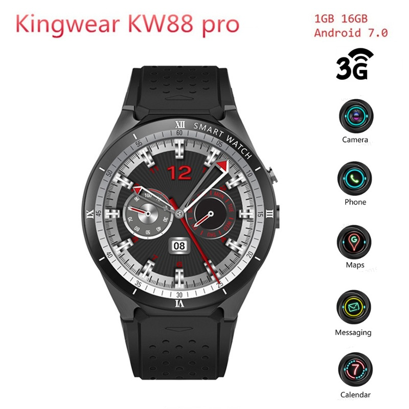 KingWear KW88 Pro 3G Smartwatch Phone Android 7.0 Quad Core 1.3GHz 1GB 16GB Bluetooth 4.0 Smart Watch Phone GPS Wearable Devices super bowl ring 2019