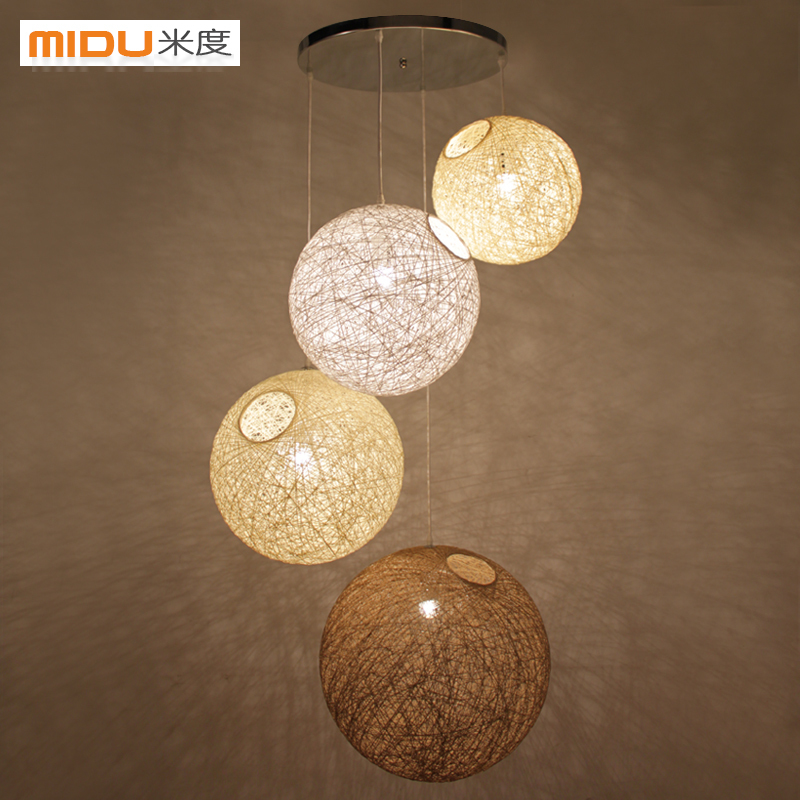 Ball Shaped Chandelier Modern Minimalist Rattan Living Room Bedroom Corridor Balcony Lamp Southeast Asian Restaurant Bed|Pendant Lights| |  - title=