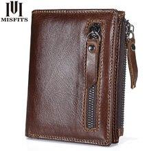 Брендовые мужские кошельки MISFITS, короткий кошелек из натуральной кожи, модный бумажник на застежке, двойной кошелек, держатель для карт, кош...