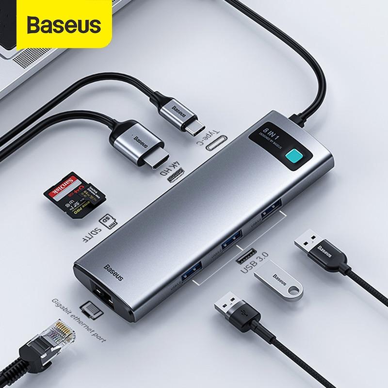 Baseus USB C концентратор Тип C на HDMI-совместимость с USB 3,0 адаптер 8 в 1 Тип C концентратор USB док-станция для MacBook Pro Air Mouse USB C сплиттер