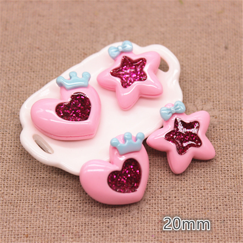 20pcs 20mm Pink Resin Heart/Star Flatback Cabochon For Kids Clip DIY Hair Clip Accessories
