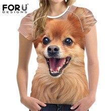 FORUDESIGNS New Tops Tees T-shirt Women Kawaii Pomeranian 3D Prints Top Shirt Sleeve Tshirt Female T Shirts Feminine T-shirts
