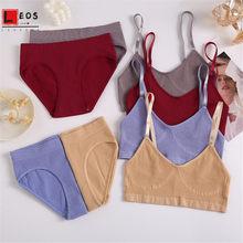 Women Sexy Bra Set Seamless Fitness Underwear Suits Bralette Tops Briefs 2Pcs Lingerie Outfits Solid Color Crop Tops Ladies Sets