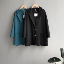 Autumn 2019 New Lapel Long Loose Sleeve Blazer  Single-breasted Solid Suit Jacket for Women  Office Lady lapel edging single breasted long sleeve men s corduroy blazer
