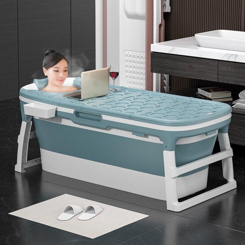 Free Shipping Adult Folding Bathtub Baby Swimming Pool Children Bath Barrel Household Large Portable Tub Insulation Tub With Lid